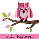 Owl on Branch Applique Template, Bird, Animal, DIY, PDF Pattern for Children