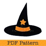 Witches Hat Applique Template. PDF Template. Halloween Applique Designs