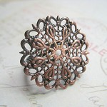 10 x Adjustable Red Copper Filigree Rings