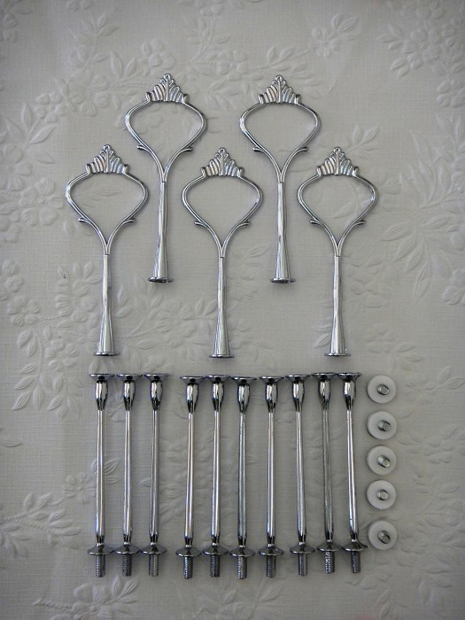 5 x Cake Stand Handles & Fittings 3 tier Hardware Silver LIGHTWEIGHT Crown Sets