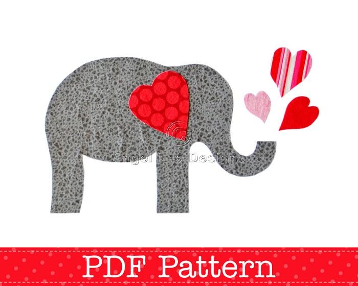 Valentine Elephant Applique Template, Valentine's Day Designs, DIY, PDF Pattern