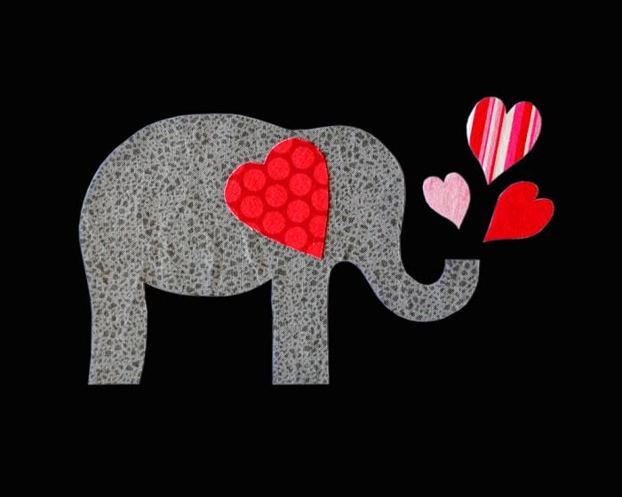 valentine elephant applique template valentines day designs diy pdf pattern - Elephant Valentine