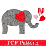 Valentine Elephant Applique Template, Valentine's Day Designs, DIY, PDF Pattern