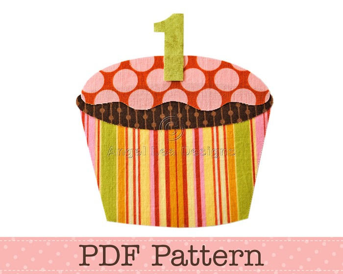 Applique Template, Birthday Cupcake with Number on Top, Children, PDF Pattern