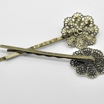 10 Filigree Antique Bronze Bobby Pins/ Hair Clips