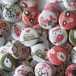 10 Valentine Critters Flat Backs - Owls, birds and Love hearts