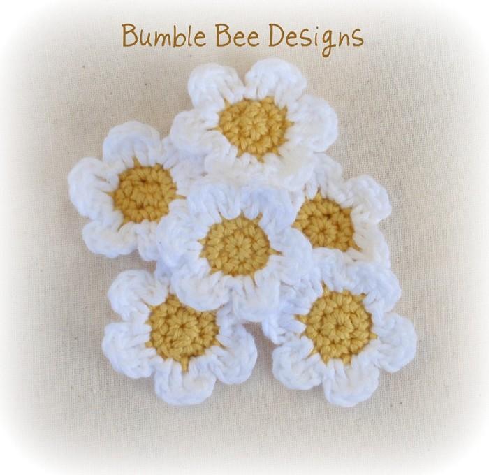6 Hand Crochet Daisy Flower Applique Motifs Clips ...
