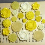 20pcs - Resin Flowers, Cabochons - Yellow