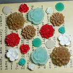 20pcs - Resin Flowers, Cabochons - Teal/Red/White/Brown