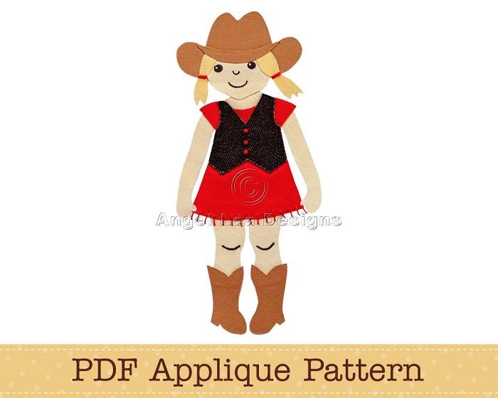 Cowgirl Applique Pattern PDF Applique Template Cow Girl Applique Design