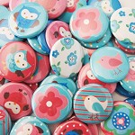 10 Pink and Blue Owls, Butterflies, Flowers, Birds Flat Back Buttons - Cabochons