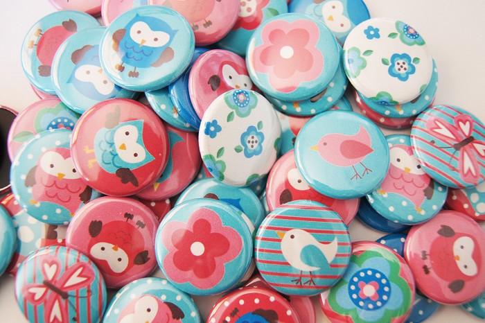 10 Pink and Blue Owls, Butterflies, Flowers, Birds Flat Back Buttons - Cabochons