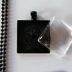 10 x DIY square black 1 inch pendant kit