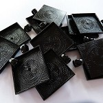"10 x Square 1"" black pendant trays"