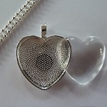 10 x DIY heart silver plated pendant kit