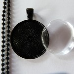 10 x DIY black round 1 inch pendant kit