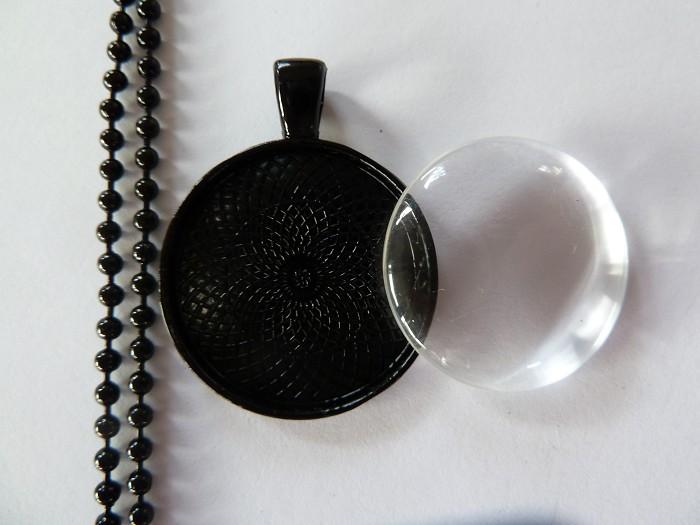 10 x DIY black round 1 inch pendant kit