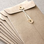 DL Brown Kraft String and Button Envelopes - 5 Pack