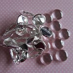 10 x 12mm Earring Trays and Glass Domes, Silver Plate(5pairs)