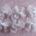 CLEARANCE 6 Lace Polka Dots Organza Ribbon Bows -White