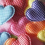 16 Padded Gingham Hearts