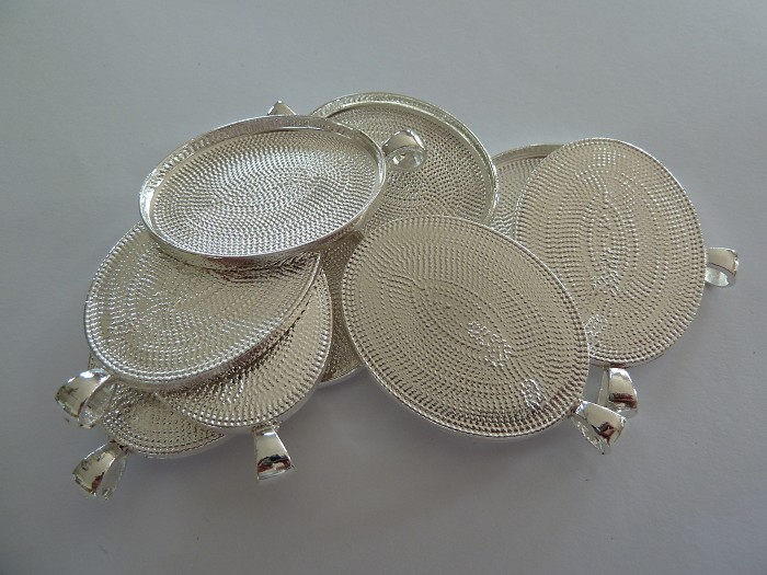 10 x Large Oval silver plated pendant trays