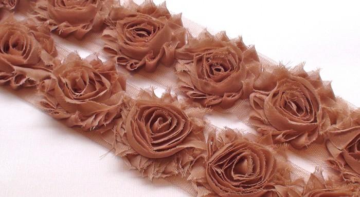 10 LIGHT CHOCOLATE SHABBY CHIFFON FLOWERS