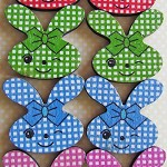 8 Cheeky Easter Bunny Rabbits Wooden Flat Back Embellishments.