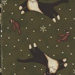 Patchwork - Quilting Fabric - Fat 1/4 - Black & White Cats on Green Background