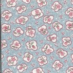 Patchwork - Quilting Fabric - Pink Floral on Pale Blue Background