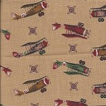 Patchwork - Quilting Fabric - Aeroplanes on Fawn Background