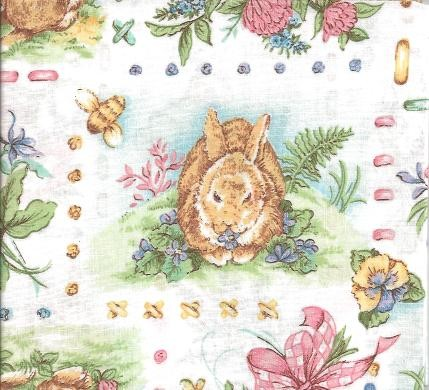Patchwork - Quilting Fabric - Rabbits in the Garden