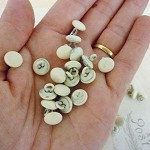Vintage Metal Dome Buttons - Cream - Pack of 10