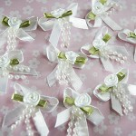 10 White Ribbon Bows with Roses and Pearls