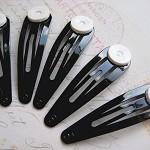 20 x Black Hair snap pins with glue pad