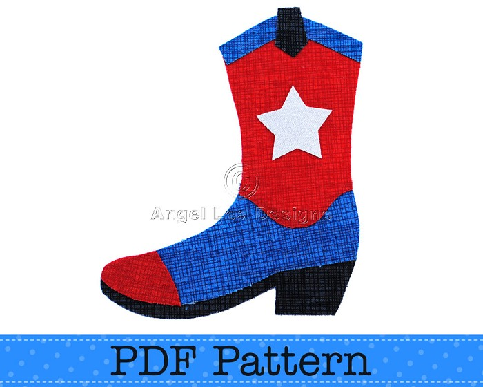 Applique Design Cowboy Boot And Cowgirl Boots Pattern PDF Template