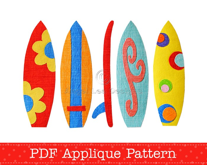 making a surfboard template - surfboards applique pattern pdf template includes 5