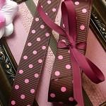 "7/8 "" Brown with pink polka dot grosgrain ribbon 5 metres"