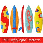 Surfboards Applique Pattern. PDF Template. Includes 5 Surfboard Designs