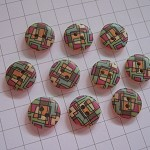 ~10 x cute abstract purple, blue, green & orange painted wooden buttons~15mm