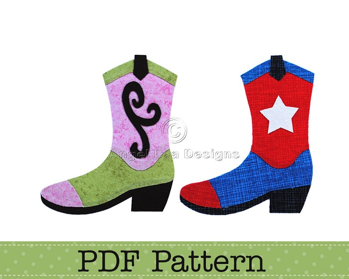 Cowboy Boot and Cowgirl Boots Applique Pattern. PDF Template. Applique Design