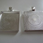 "10 x Square 1"" silver plated pendant trays"