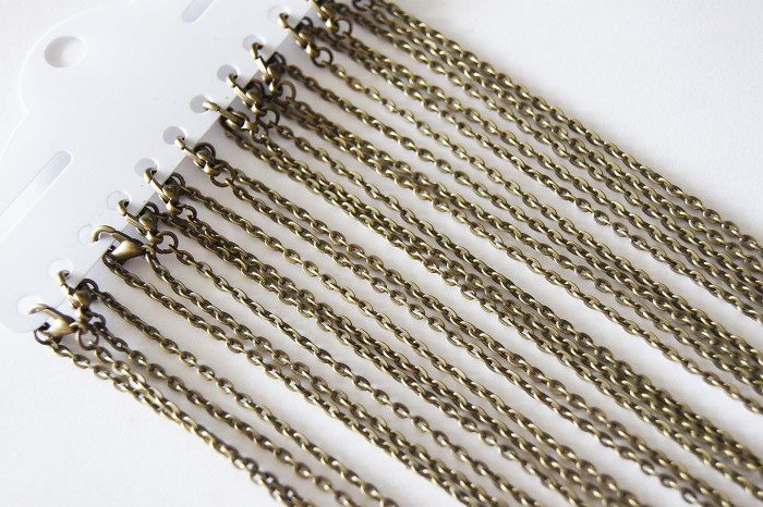 "12 Flat Rolo Link 20"" Antique Bronze Necklace Chain"