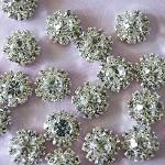 10 Rhinestone Flat Back Buttons - Cabochons