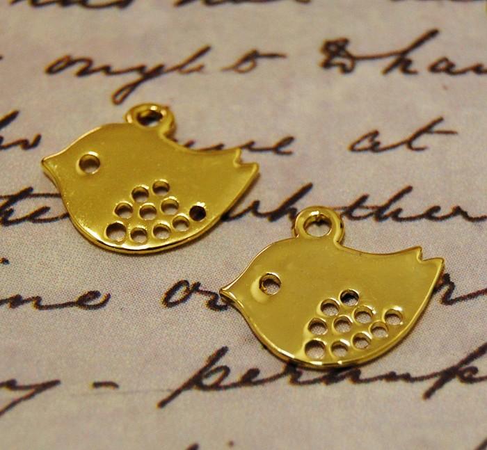 10pcs Sparrow Golden Color Bird Charms - Jewelry Metal Bird bead