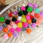 30 x Resin Flowers, Cabochons - 8mm Rose Sampler