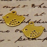 10pcs Sparrow Golden Color Bird Charms - Jewelry Metal Bird bead