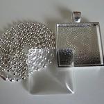 10 x DIY square silver 1 inch pendant kit
