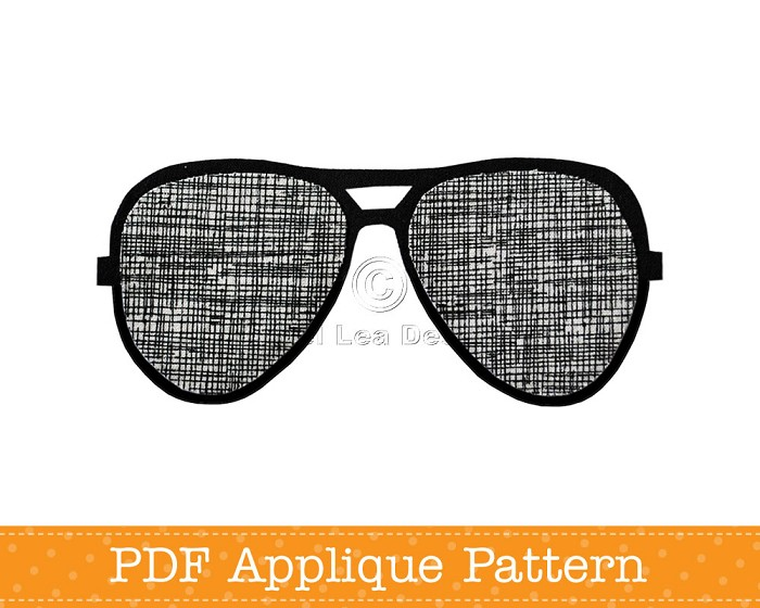 sunglasses applique template aviators pdf pattern angel lea