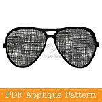 Sunglasses Applique Template Aviators PDF Pattern